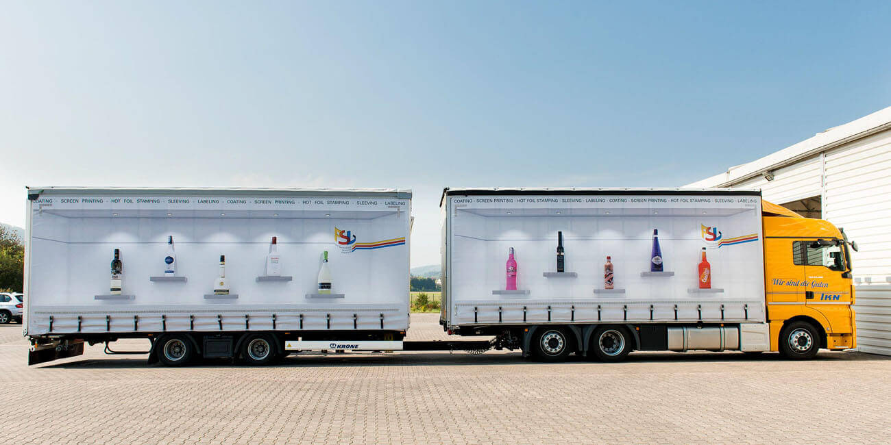 Truck with printed bottles
